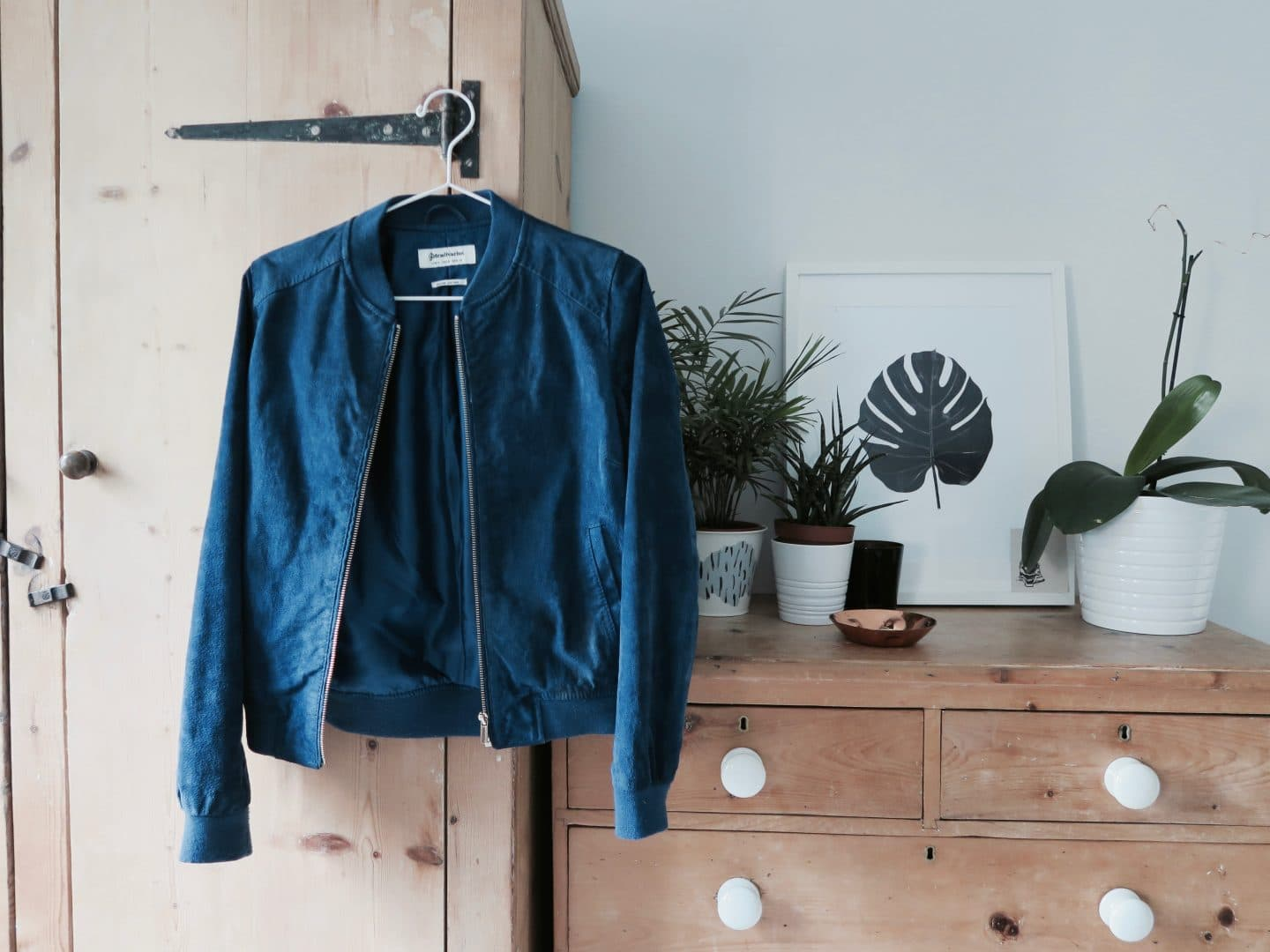 Second hand blue suede jacket | Curiously Conscious