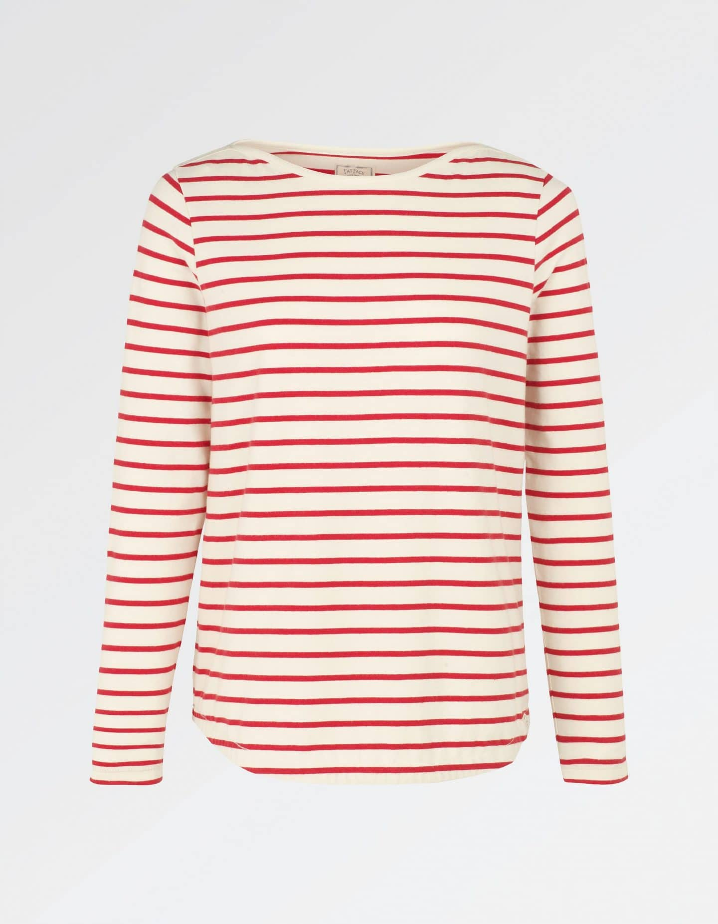 Fat Face Organic Cotton Breton Striped Top in Tomato