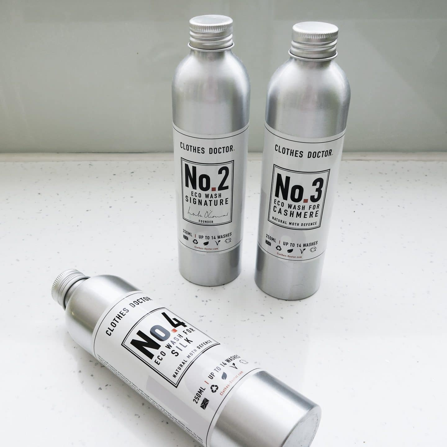 Three bottles from Clothes Doctor Range