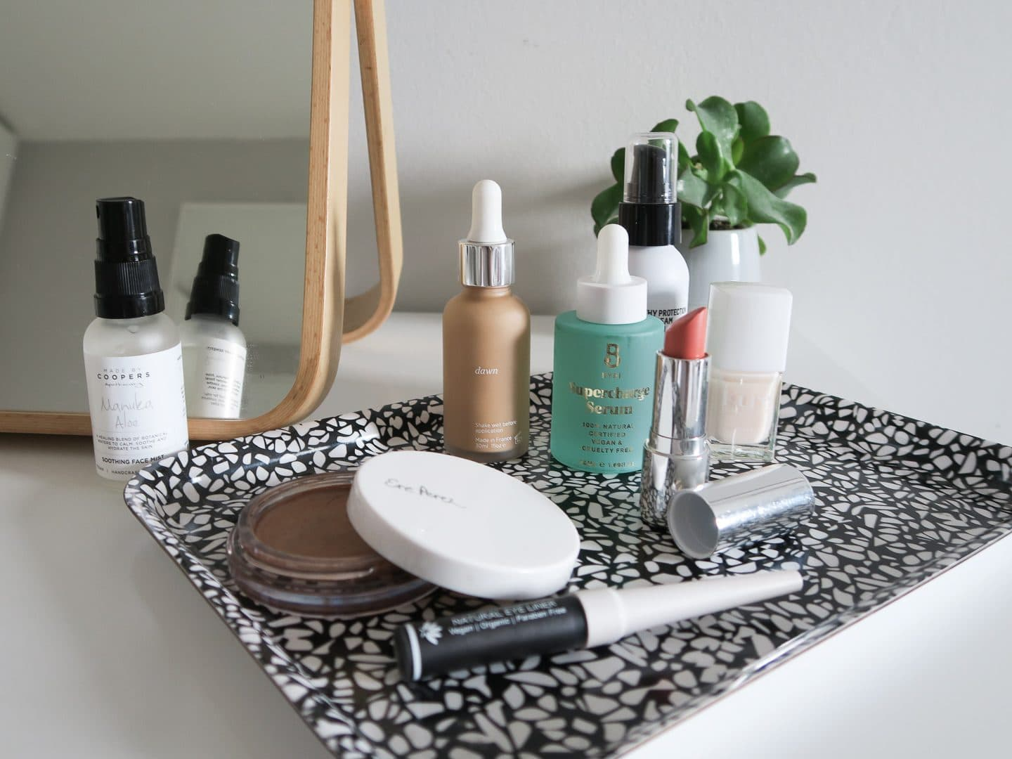 Clean beauty products on a tray