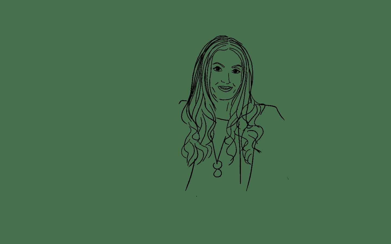 A hand-drawn sketch of Roberta Lee