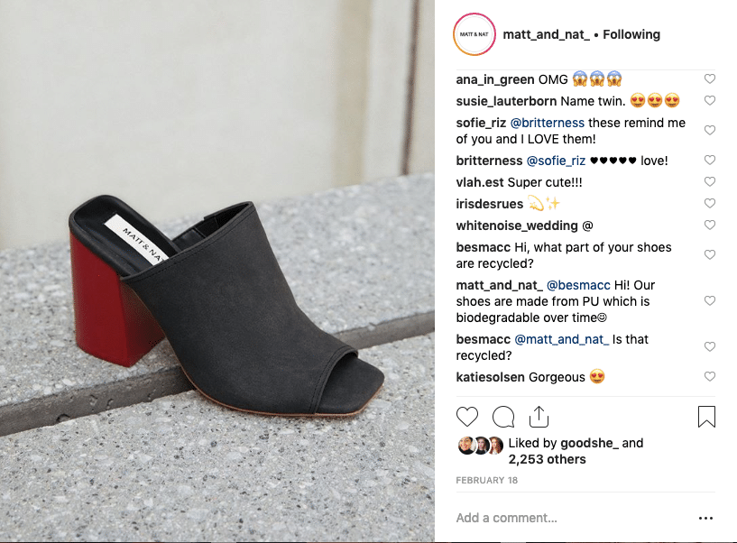 Screenshot from Instagram showing questions over the material in Matt & Nat's shoes