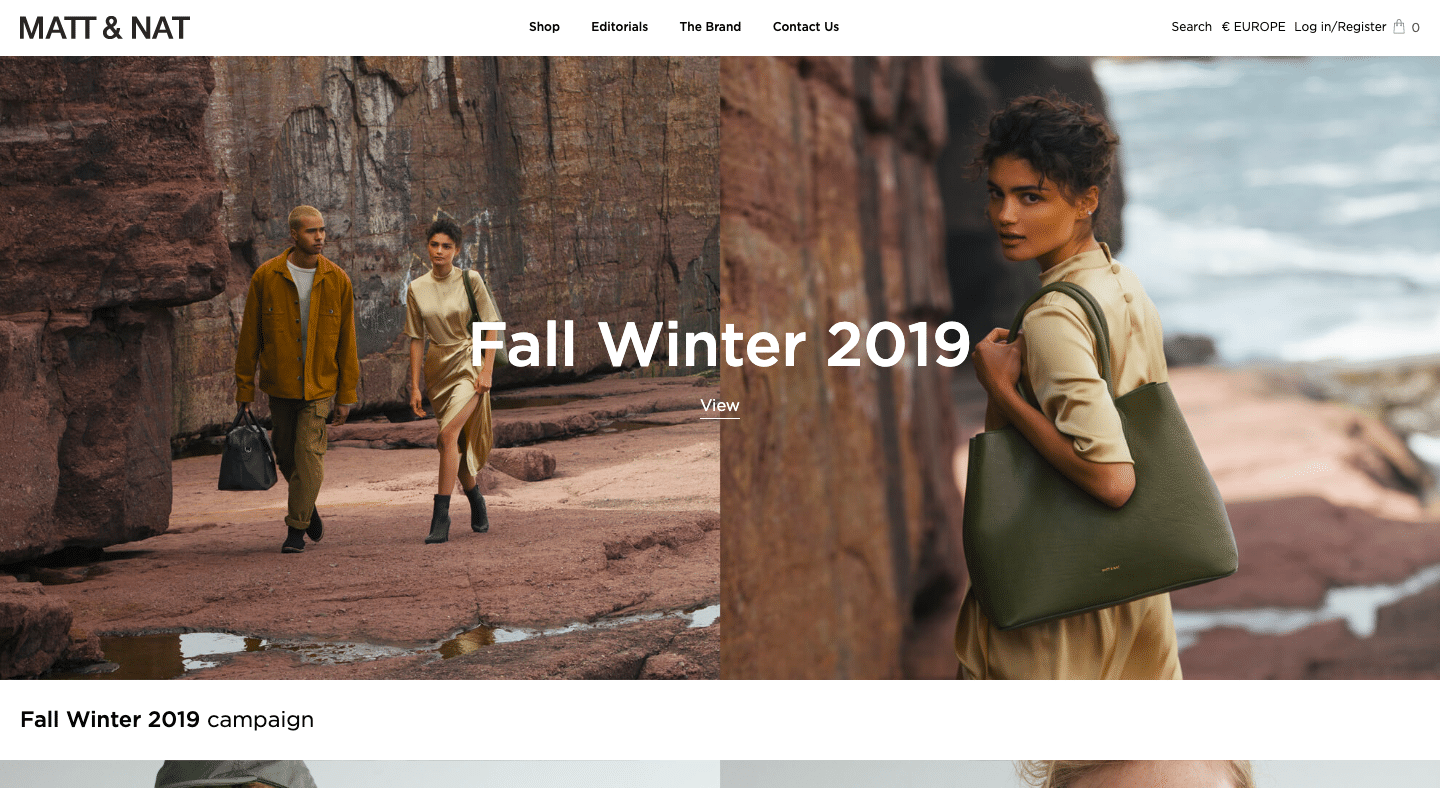 Screenshot of Matt & Nat Fall's Winter 2019 Campaign
