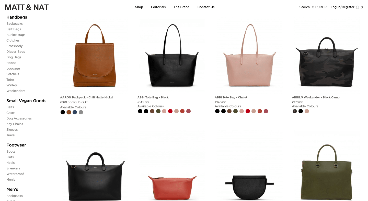 Screenshot of Matt & Nat's Online Shop