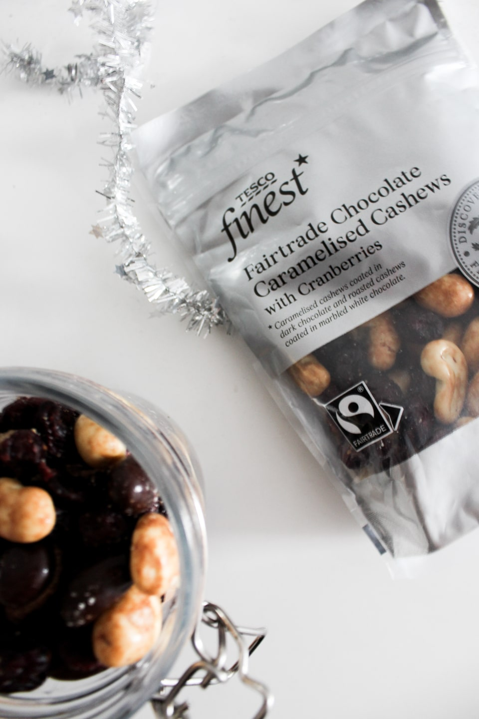 Fairtrade Chocolate Caramelised Cashews with Cranberries