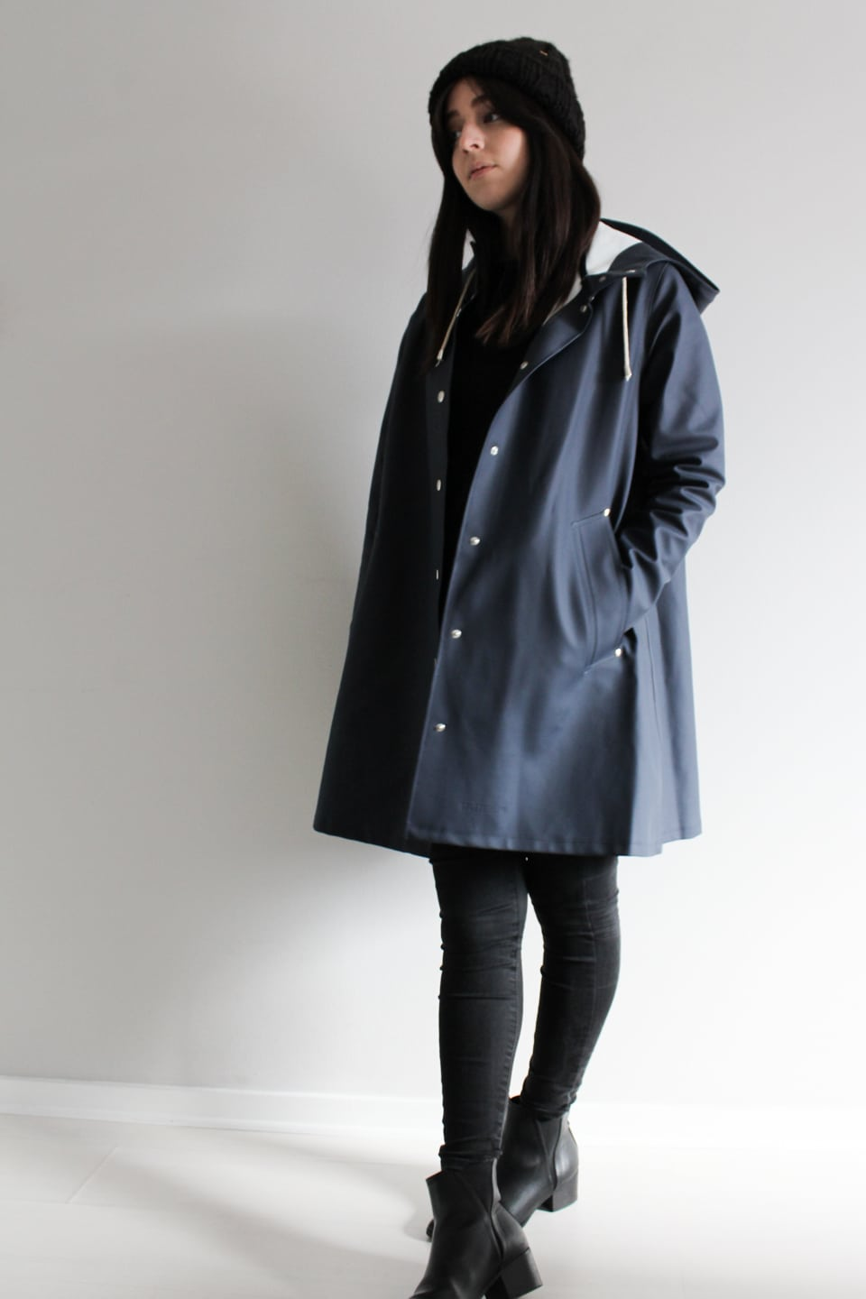 Stutterheim Raincoat with Black Bobble Hat