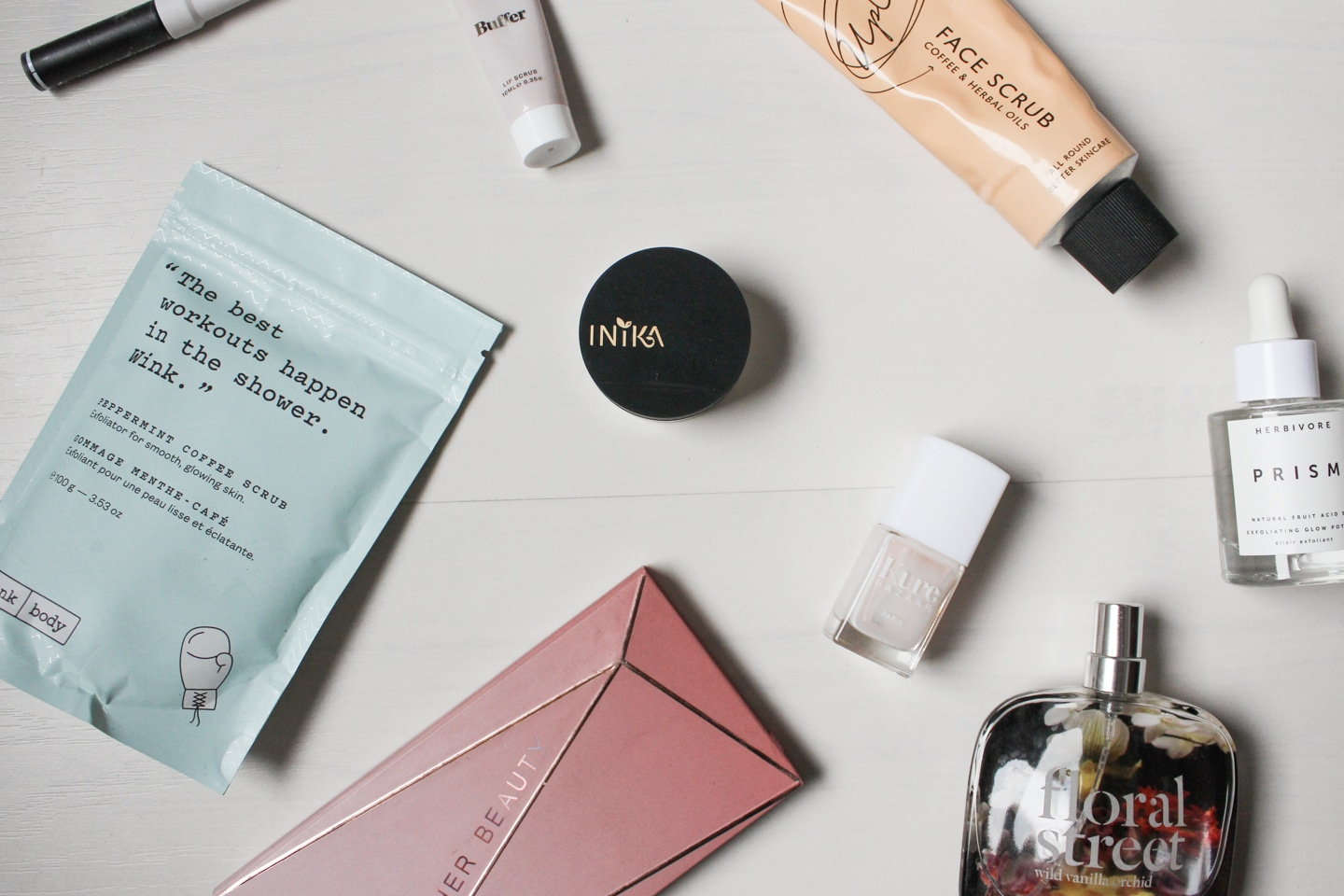 Different vegan beauty and skincare products