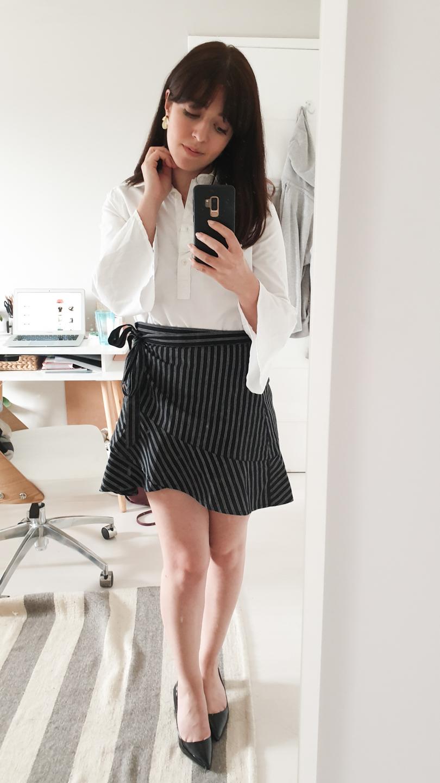 GANT shirt, striped mini skirt, pointed shoes