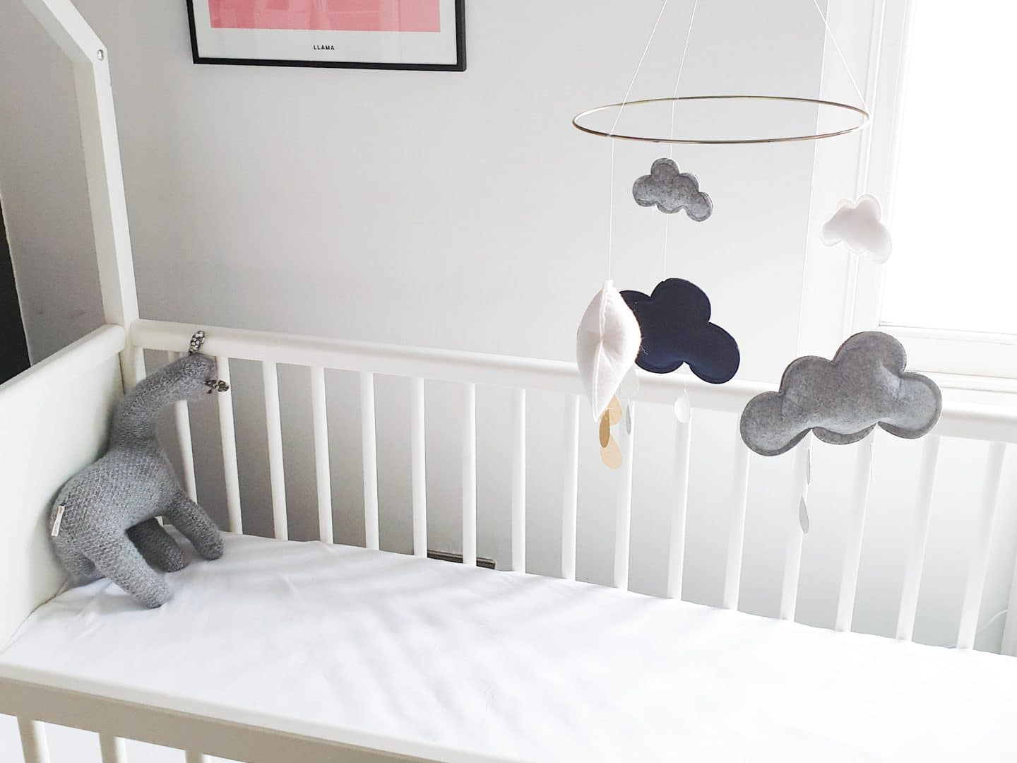 Second-Hand Cot and Handmade Mobile