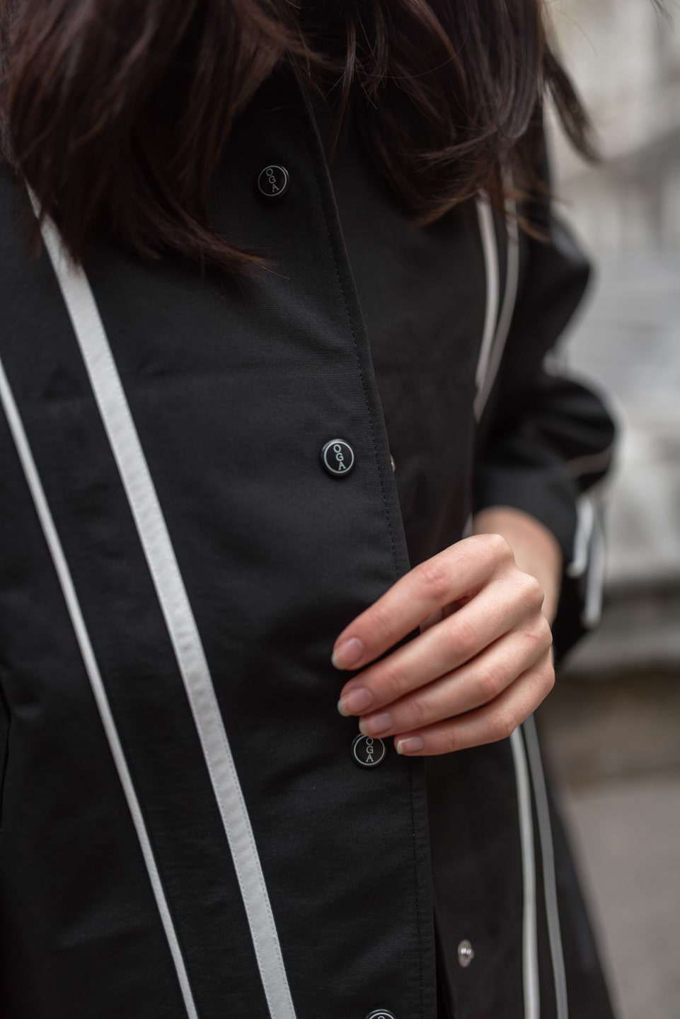 What do look for in sustainable coats: OGA button detailing on kimono jacket
