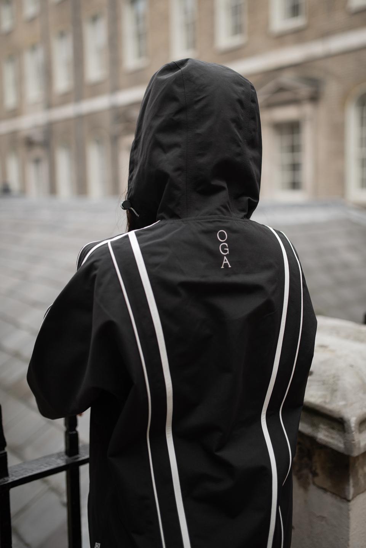 OGA logo on back of kimono jacket raincoat