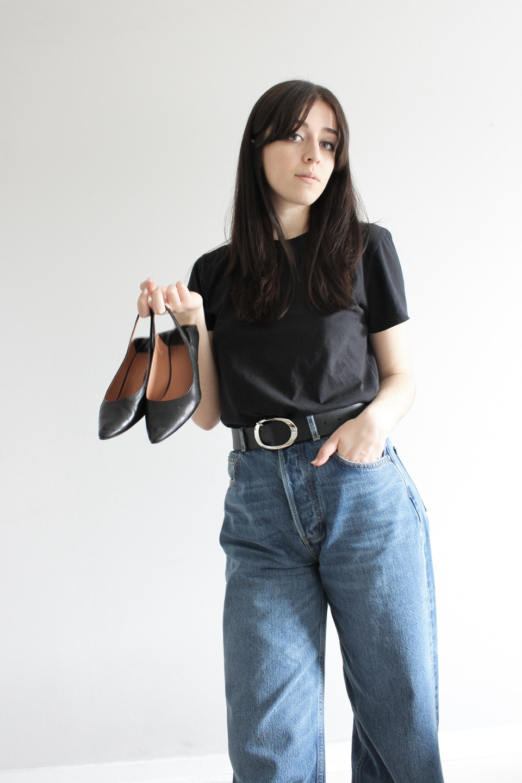 Besma holds second-hand Vetements sling-back heels