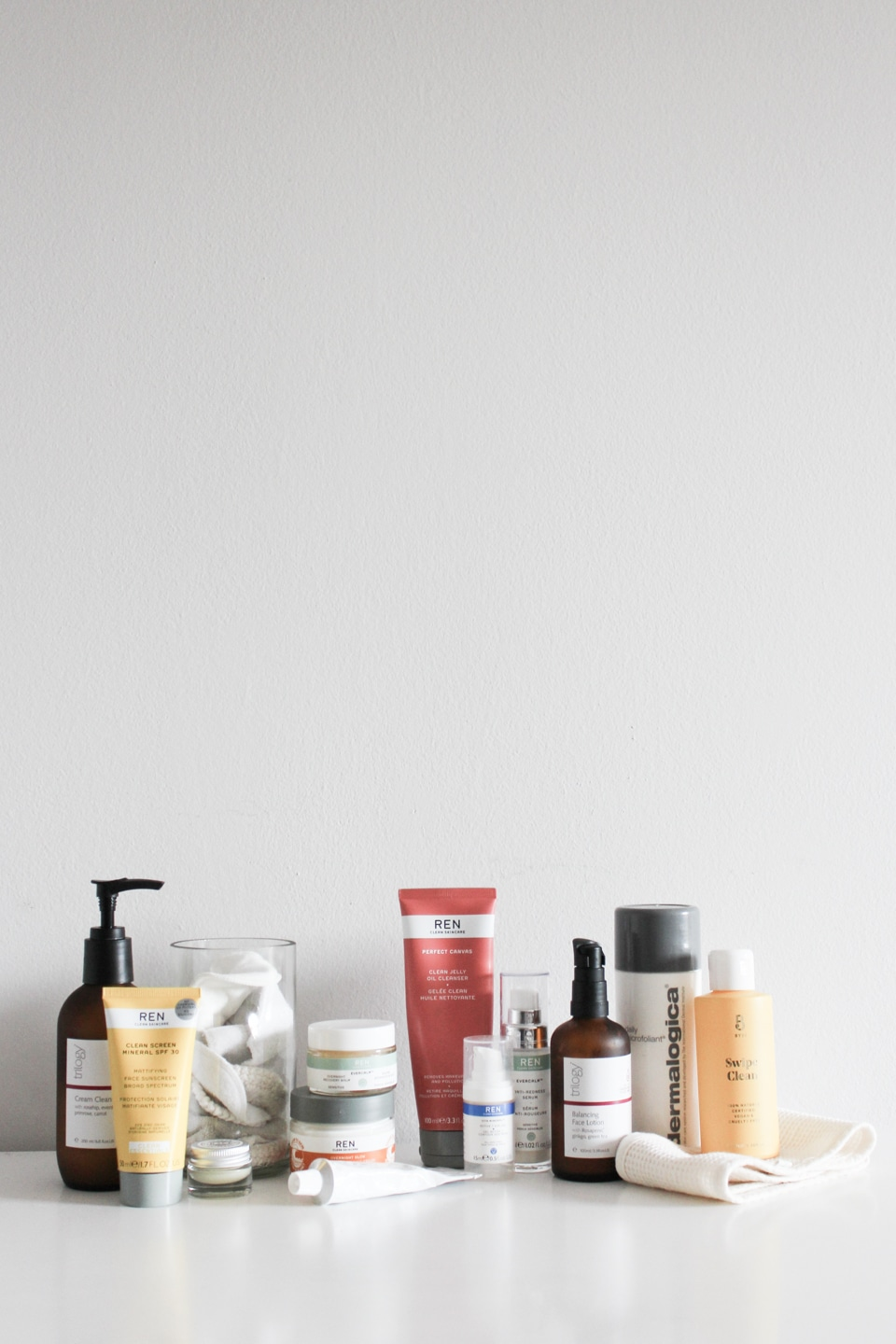 Array of sustainable skincare products from different brands