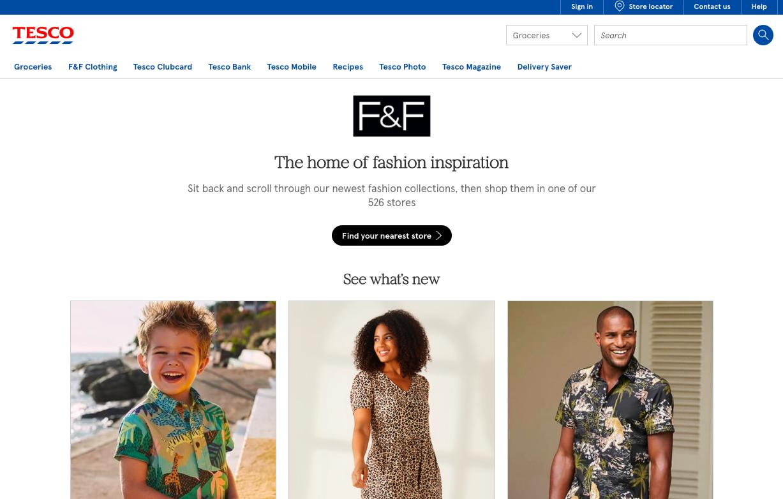 Screenshot of F&F at Tesco website