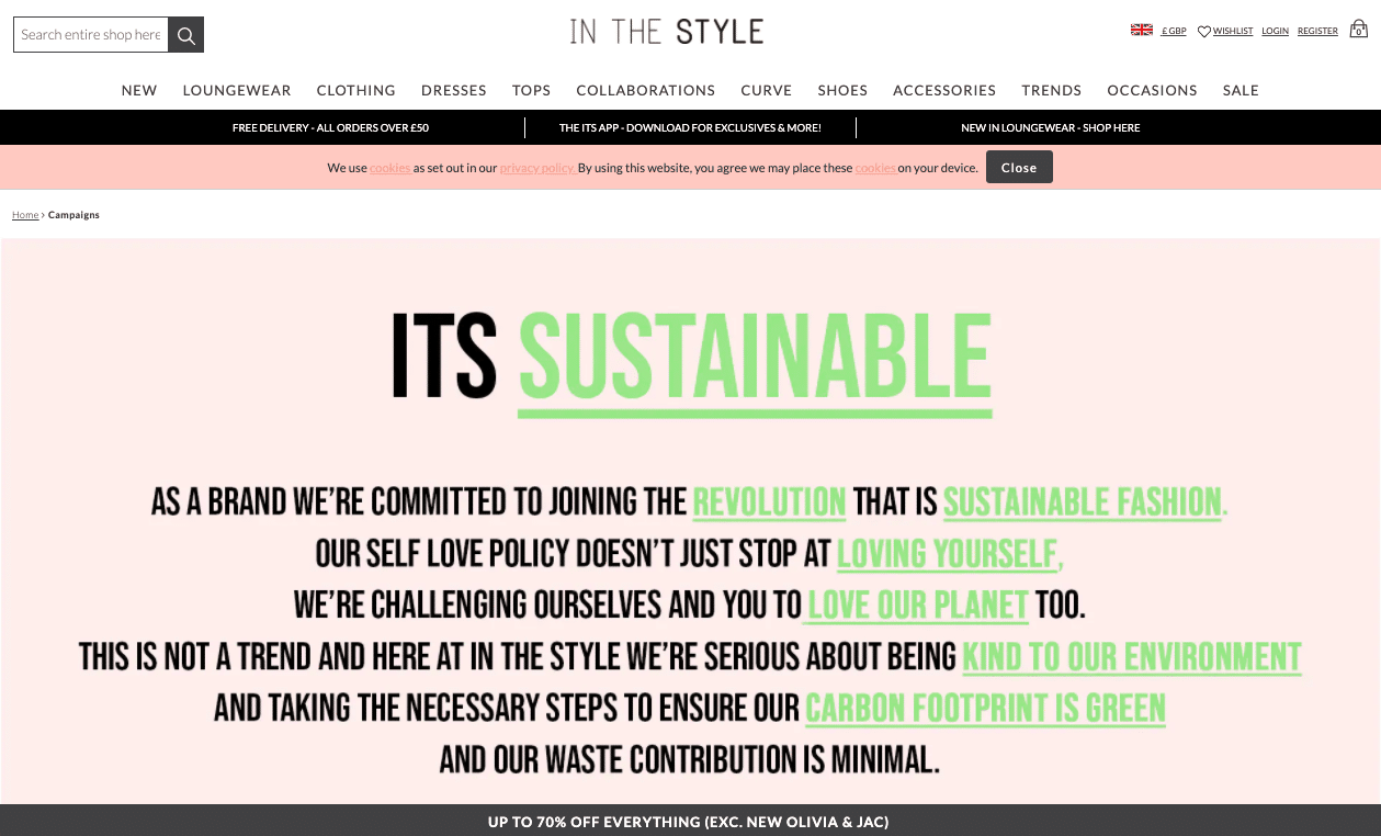 Screenshot of In The Style's Sustainability Page