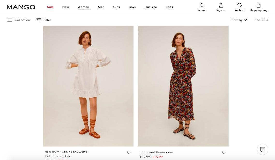 Screenshot of Mango website