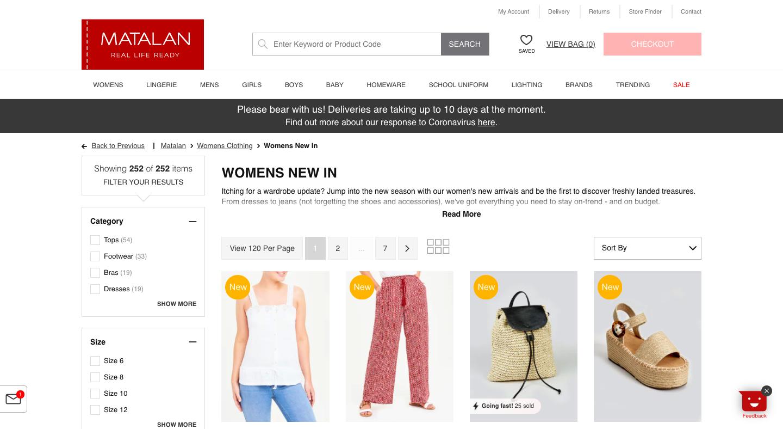 Screenshot of Matalan website
