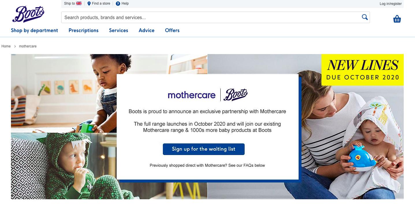 Screenshot of Mothercare website