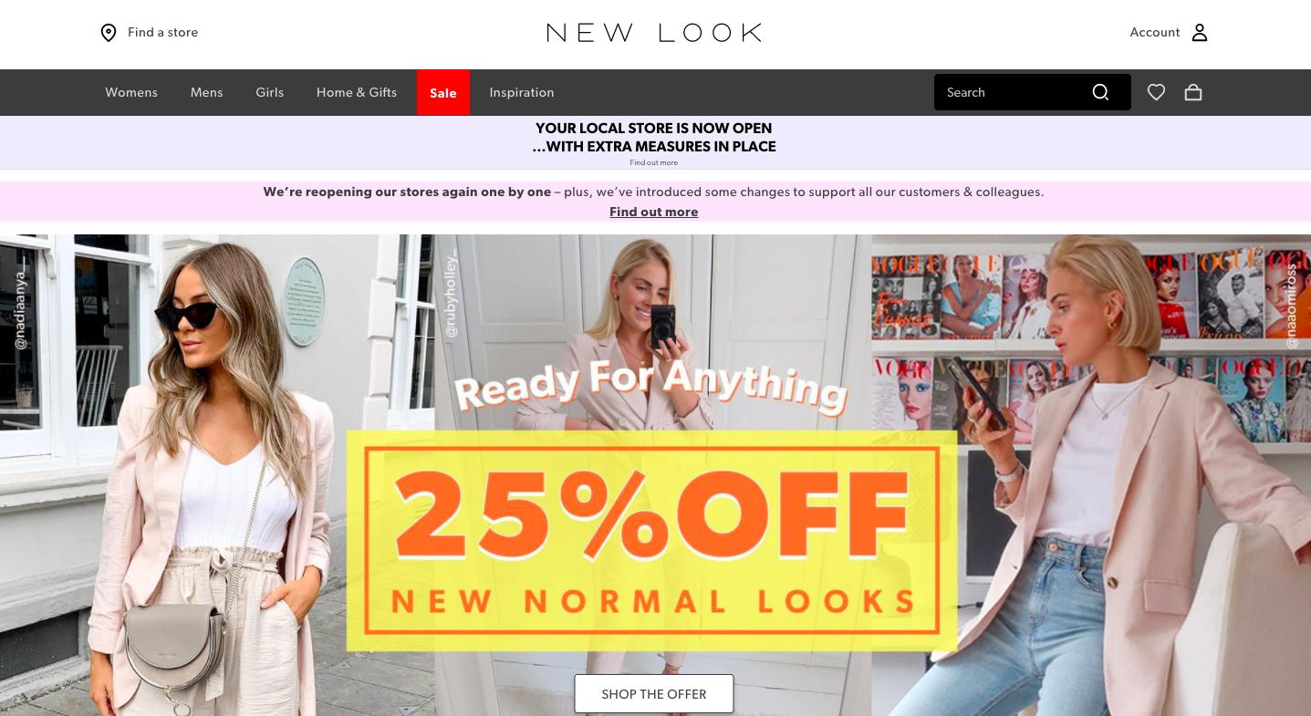 Screenshot of New Look website