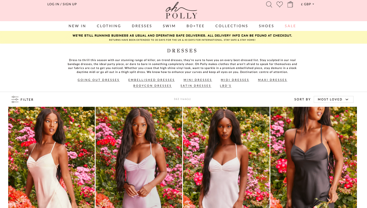 Screenshot of Oh Polly website