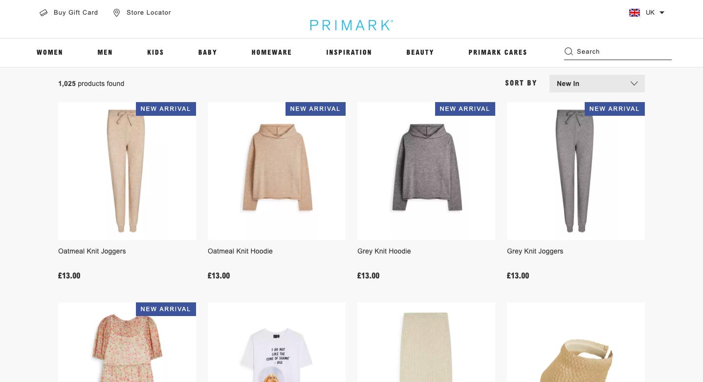 Screenshot of Primark's website