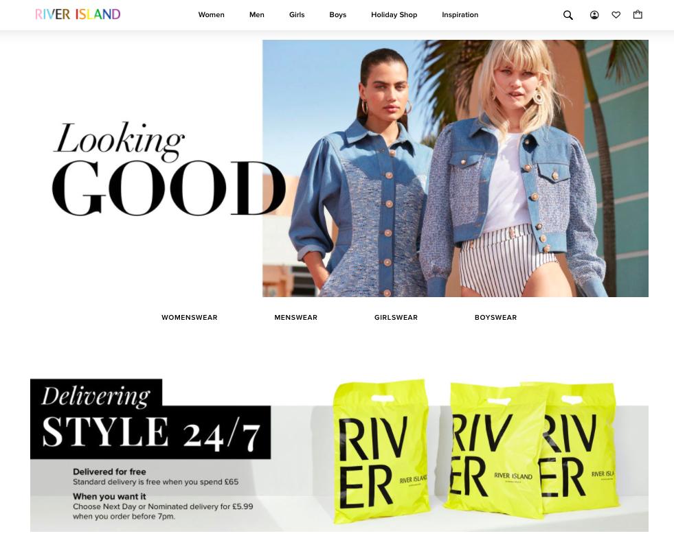 Screenshot of River Island's website
