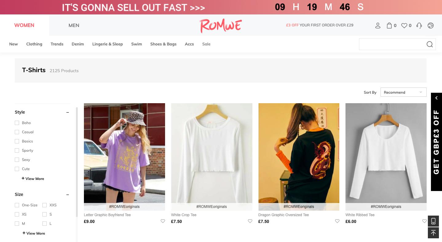 Screenshot of Romwe website