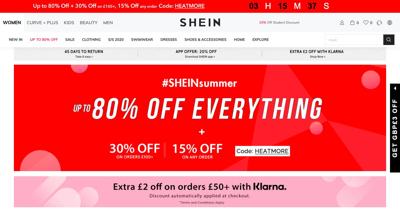 Screenshot of SHEIN website