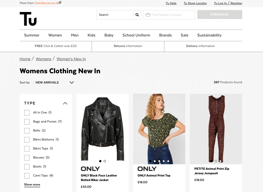 Screenshot of Tu Clothing Sainsbury's website