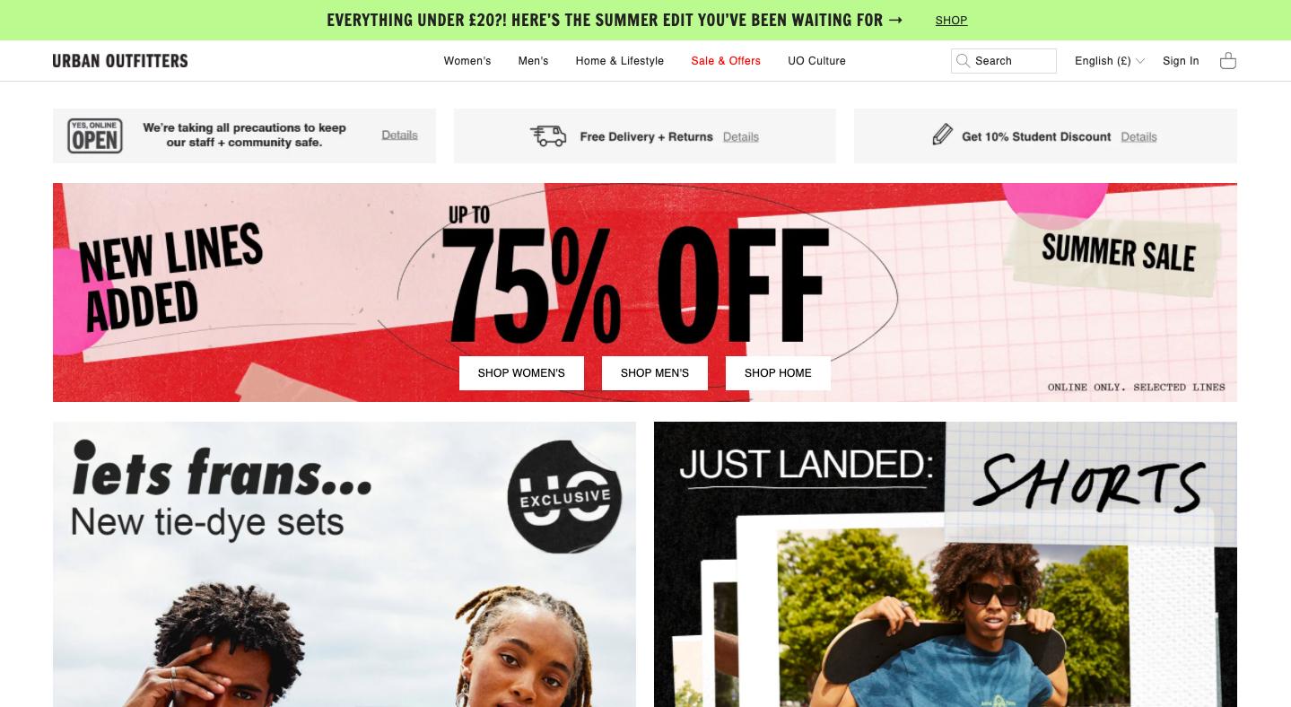 Screenshot of Urban Outfitters website