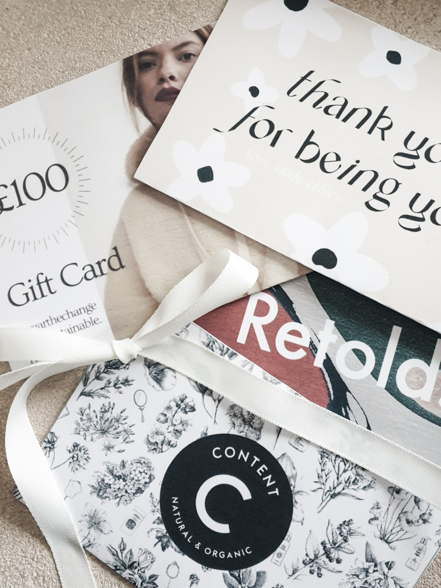 Gift cards from sustainable fashion beauty lifestyle brands