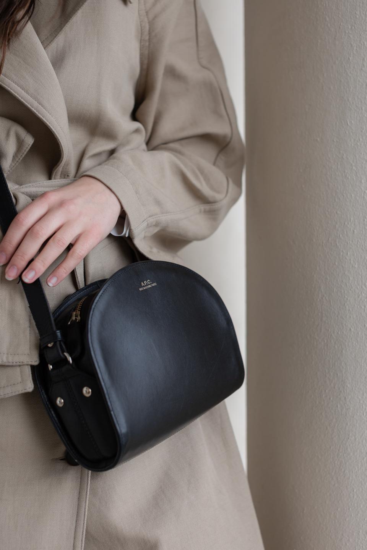 Besma wears second-hand APC demi-lune bag