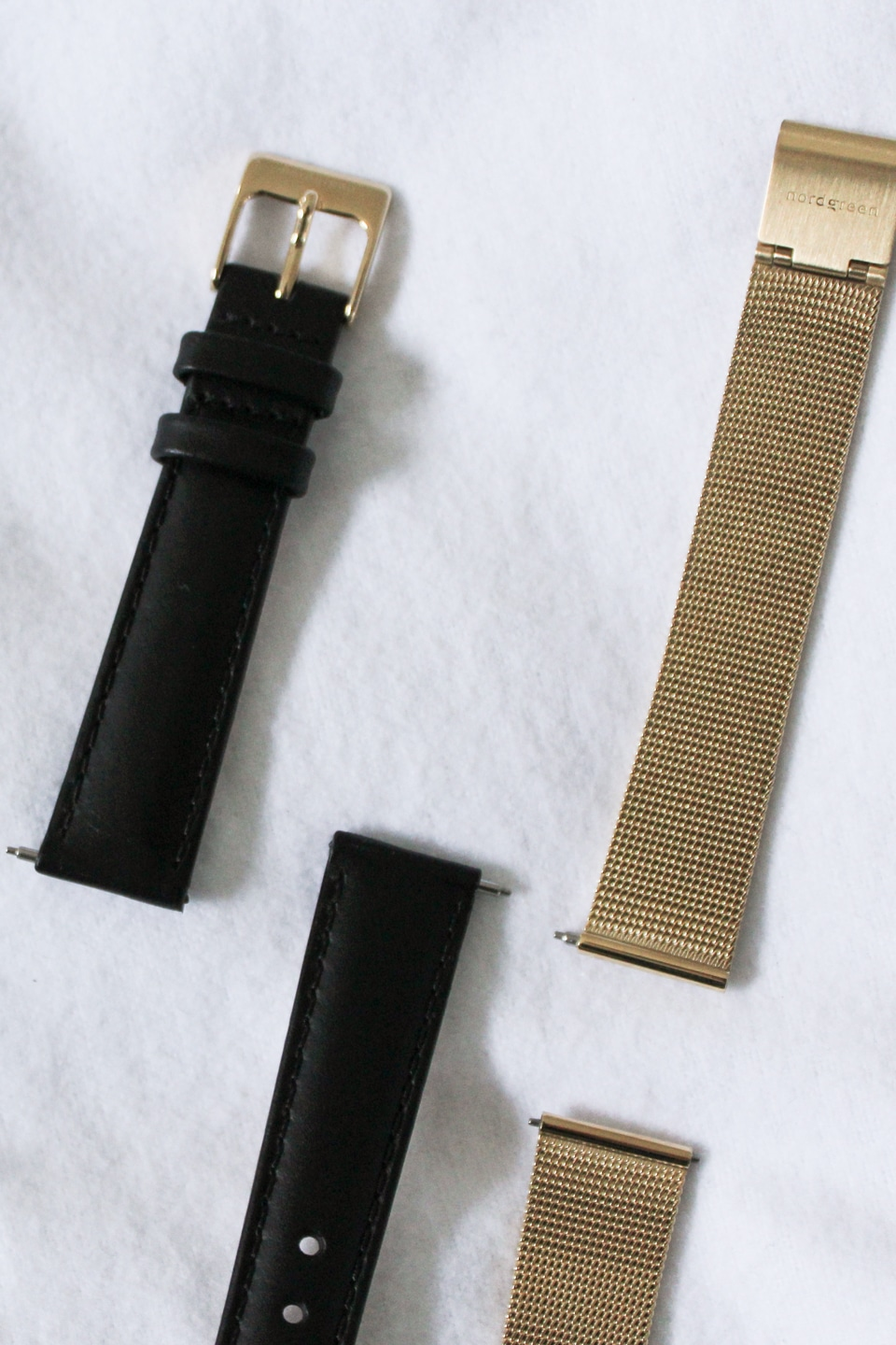 Black and gold Nordgreen watch straps