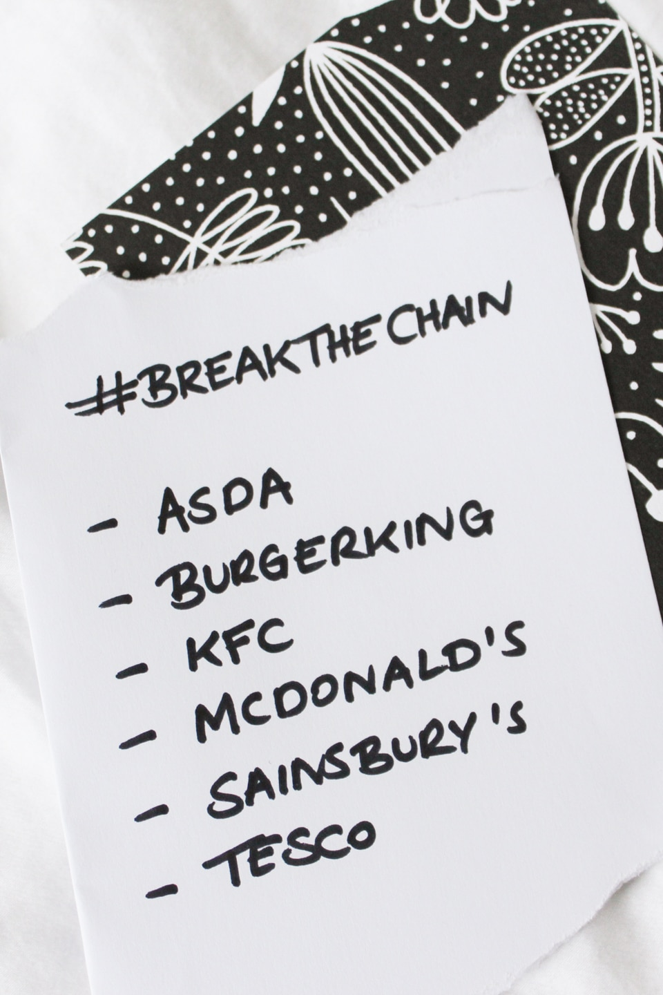 List with #BreakTheChain followed by list of businesses: ASDA, Burgerking, KFC, McDonald's, Sainsbury's, Tesco