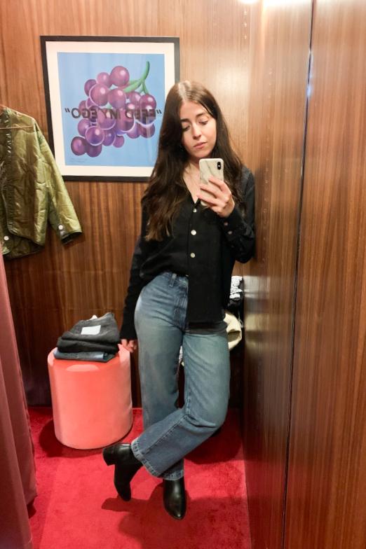 Selfie of Besma wearing R G Kane shirt and Boyish Jeans