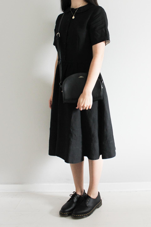 Black dress and Black Mini Bag