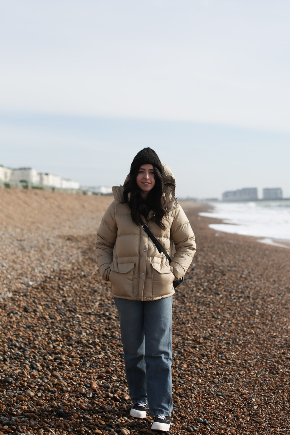 Besma wearing North Face parka with recycled down
