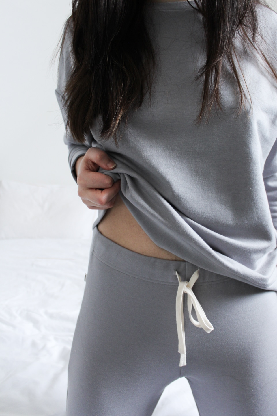 Close-up of sustainable loungewear made in UK