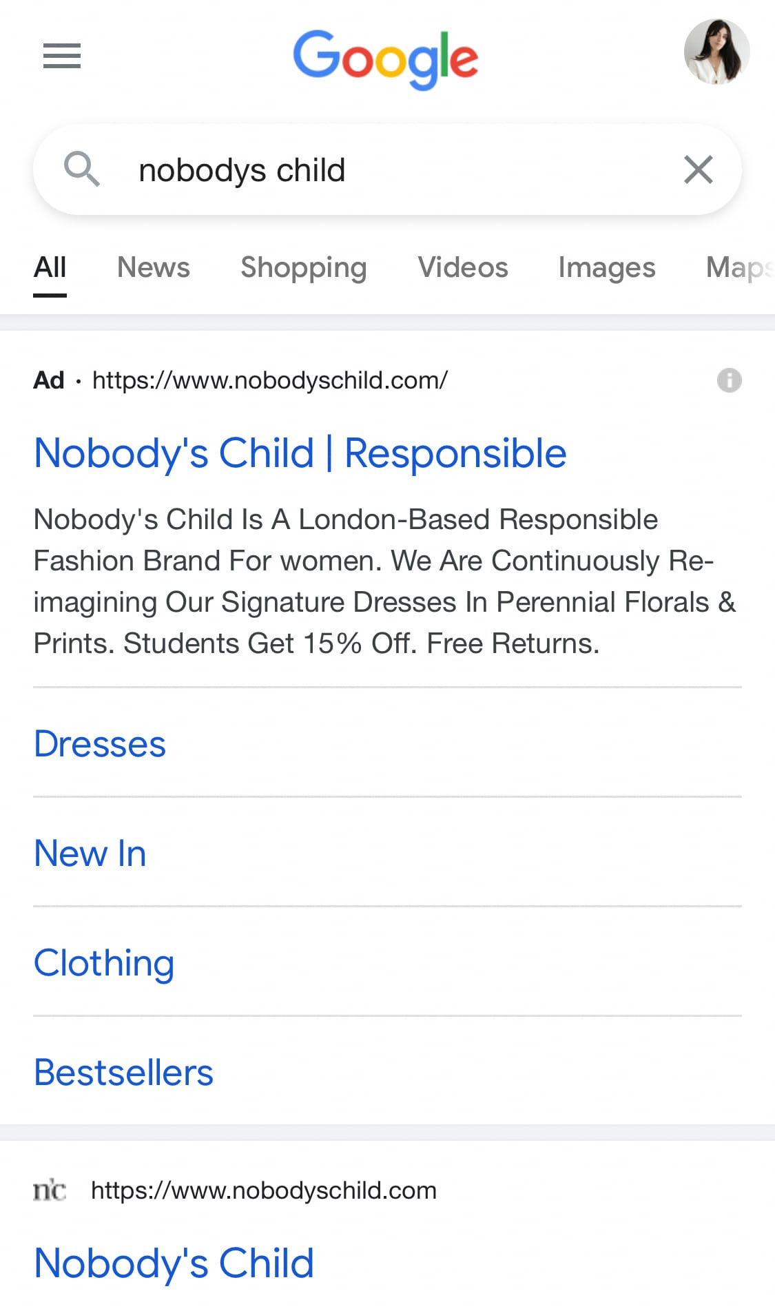 Nobody's Child Google Ad