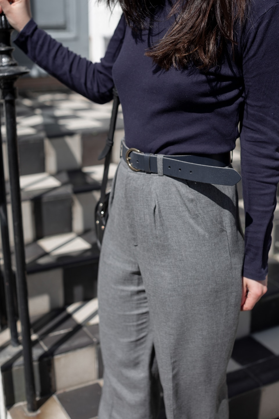 Close-up of trousers and belt