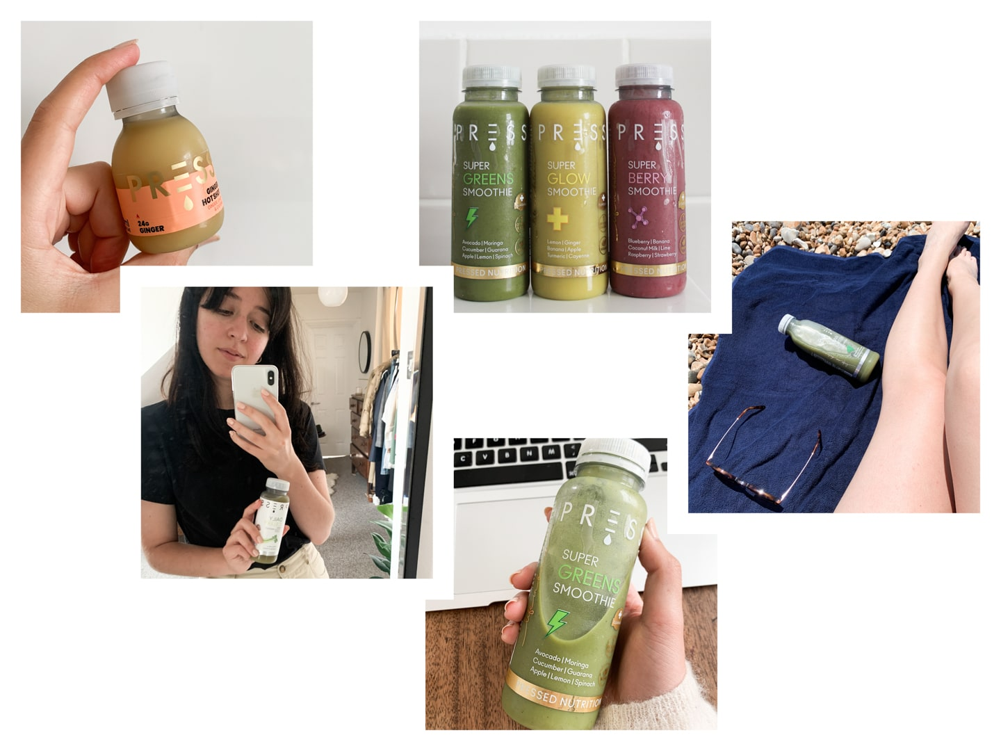 Collage of images of juices