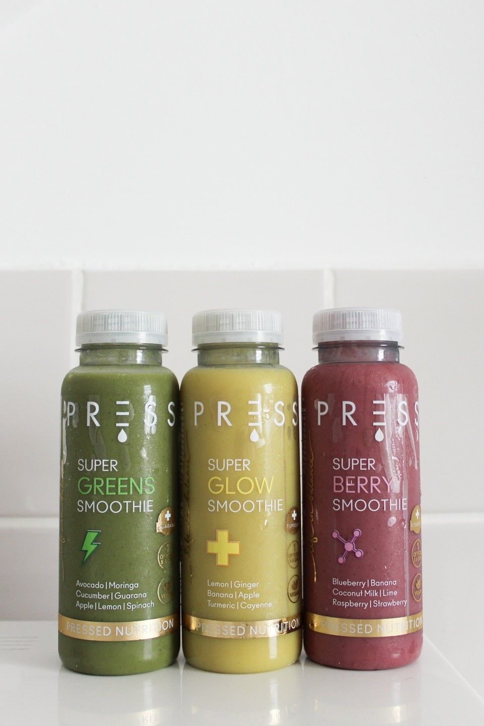 PRESS Super Greens, Super Glow and Super Berry Smoothies