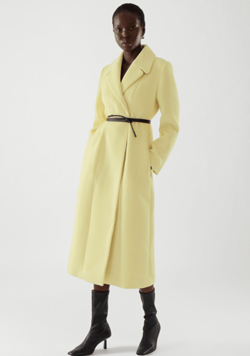COS Tailored Long Coat in Dusty Yellow