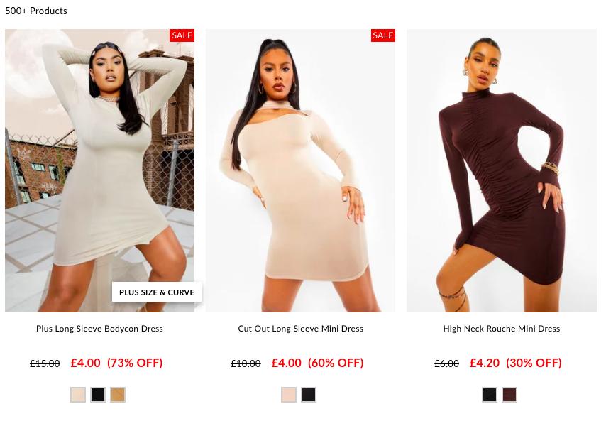 Dress styles on Boohoo