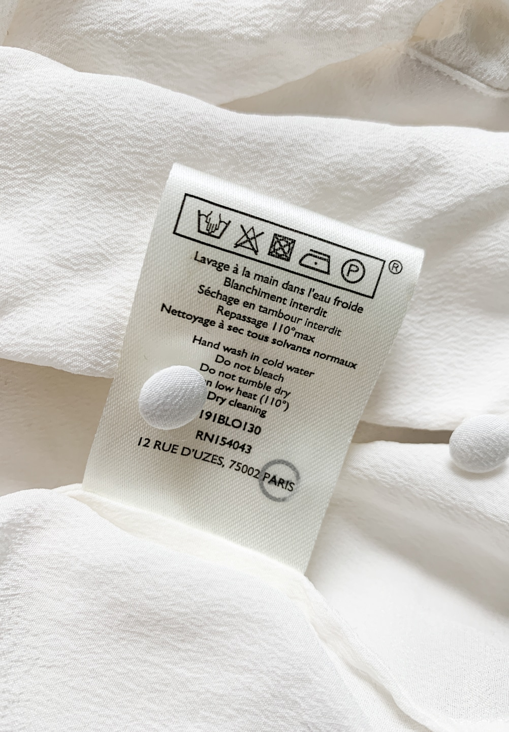 Hand-wash only care label