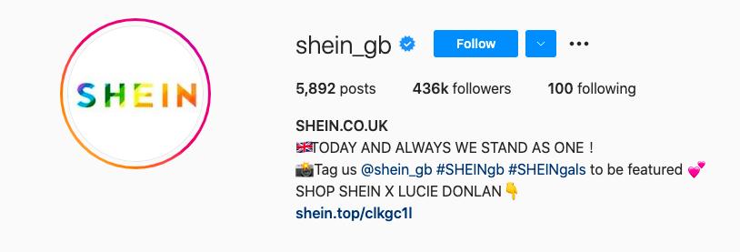 SHEIN Instagram Bio